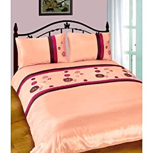 Pink Neve Design Embroidered Quilt/Duvet Cover Bedding Set (200 Thread Count) (Single Bed) (Pink)