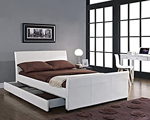 New Madrid Designer 4 Drawer Sleigh Storage Bed Frame Upholstered In PU Leather Available In Brown, Black and White 4ft6 Double 5ft King Size By Limitless Base (4ft6 Double,