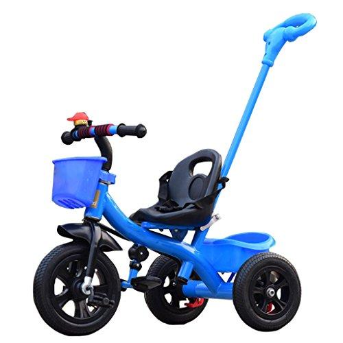 QWM-Baby Kinderfahrräder Dreirad-Baby-Wagen-Fahrrad-Kind-Spielzeug-Auto Aufblasbares Rad/Schaum Rad-Fahrrad Verwendbar für 1-2-3-4 Jährige (Junge/Mädchen), Blau Kindergeschenk-QWM (Farbe : B Type)