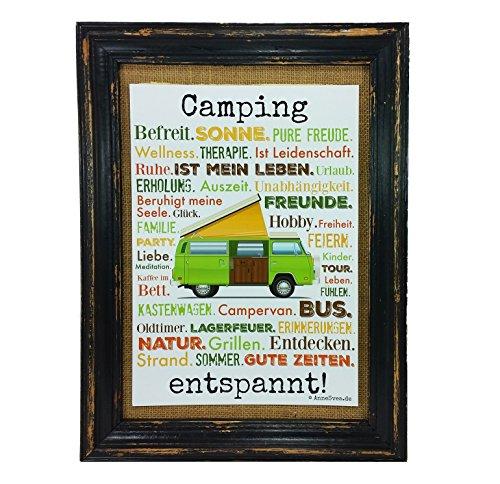 Camping entspannt. Druck Poster A4 Bus Camper Caravan Geschenk AnneSvea Typo Deko Womo