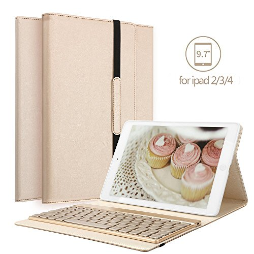 Case-abnehmbare Ipad Tastatur 2 (Ipad 4 Ipad 3 Ipad 2 Bluetooth Tastatur Hülle, Boriyuan Stand Folio PU Hülle mit 7 Farben hinterleuchtet abnehmbare Wireless Bluetooth Tastatur für Apple iPad 2/3/4 - (Gold))