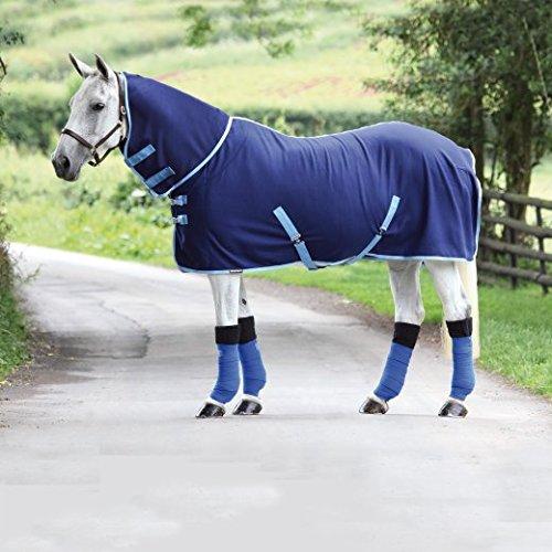 Bridleway–Forro polar Combo alfombra–azul marino/azul pálido, Manta de vellón para caballos, NVY/BB, 17,78 cm