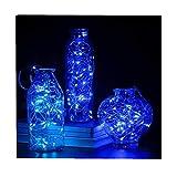 ODJOY-FAN 6 Stück 2m 20LED Dekoration Licht, Farbe Beleuchtung Zeichenfolge Batterie Sternenklar Kupfer Draht Dekor Lichter Dekorativ Licht String Lights (Blau,6 PC)