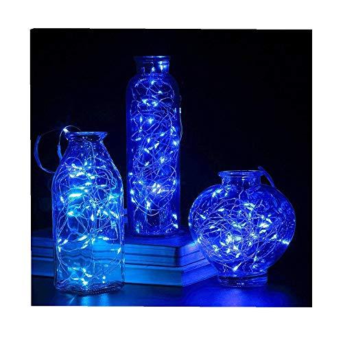 ODJOY-FAN 6 Stück 2m 20LED Dekoration Licht, Farbe Beleuchtung Zeichenfolge Batterie Sternenklar Kupfer Draht Dekor Lichter Weihnachten Dekorativ Licht String Lights (Blau,6 PC)