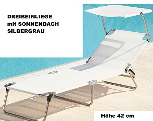 42 Cm de haut - 3 pieds en aLUMINIUM - 5,8 kg-piscine plage sauna terrasse bain de soleil jANKURTZ-rutenhalter trépied pour chaise longue 190 x 58 cm-hauteur : 42 cm-couleur : gris argenté sTABIELO-charge maximale : 120 kg-dISTRIBUTION-holly ® produits sTABIELO contre supplément avec holly fÄCHERSCHIRMEN sur demande-holly-sunshade ®-innovation fabriqué en allemagne-adapté pour traversin-cF-aSIN/iSBN : b00 vbus4kg -
