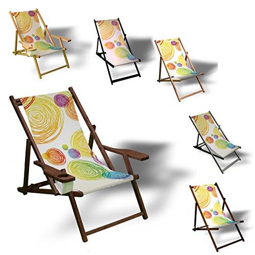 Kinder Terrasse (Printalio - Bunte Kreise - Liegestuhl Bedruckt Balkon Garten Sonnenliege Relax Holz Terrasse | Kinderliegestuhl, Natur)
