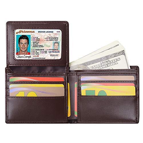 Billetera para Hombre Sailinna Carteras Inhibidora de RFID con Tarjetero de Cuero auténtico con Compartimento Transparente de Doble Cara y Caja de Regalo (Marrón(11 x 9.2cm))