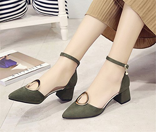 SHUNLIU Damen Blockabsatz Sandalen High Heels Wildleder Sandalen Damen Spitze High Heels Blockabsatz Wildleder Pumps mit Wort Schnalle Bequeme Geschlossen Schuhe Grün
