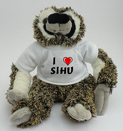 Plüsches Faultier mit T-shirt mit Aufschrift Ich liebe Sihu (Vorname/Zuname/Spitzname)