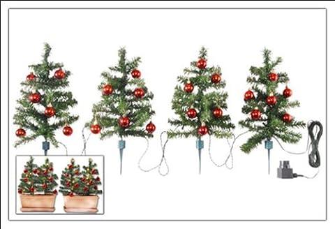 4er Set Weihnachtsbäume je 45cm mit Kugeln und Lichterkette - Ideale Deko für Innen und Außen