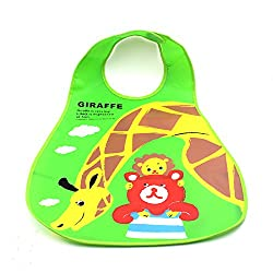 Top Sell Half Clear EVA Plastic Infant Bib Baby Toddler Pinny Boy Girl Feeding Care Waterproof 0-6 years babador (Giraffa)