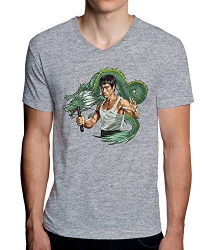 Bruce Lee with Dragon Design Men's V-Neck T-Shirt XX-Large -
