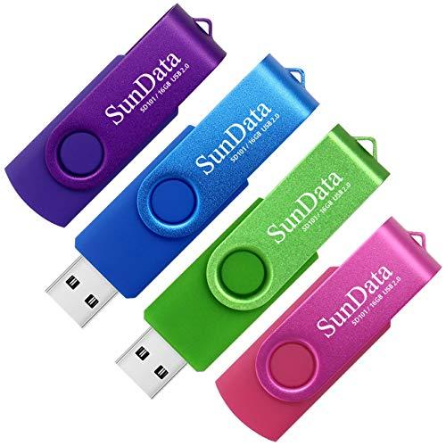 SunData 16GB USB Stick 4 Stück USB 2.0 Speicherstick Flash-laufwerke Rotate Metall