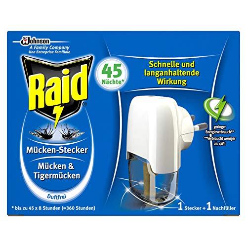 Raid Mücken-Stecker Insekten-Stecker elektrisch zum Schutz vor Mücken und Tigermücken, 3er Pack (3 x 1 Stück)