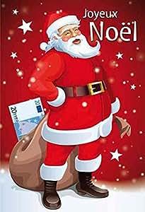 WEIGERT Carte de voeux + Enveloppe Joyeux Noel Pere Noel rouge
