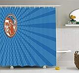JIEKEIO Sports Shower Curtain, Pop Art Gridiron with Old Fashioned Visual Properties Throwing Man Print, Fabric Bathroom Deco