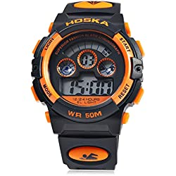 Leopard Shop HOSKA H001B Children Sports Wristwatch LED Digital Watch Day Chronograph Water Resistance Black Orange