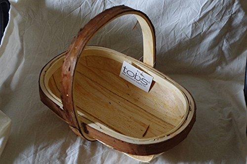 Charmant Grand panier en bois rustique (37 x 25 cm) avec poignées Idéal pour le jardin ou un cadeau – Livraison le jour suivant.