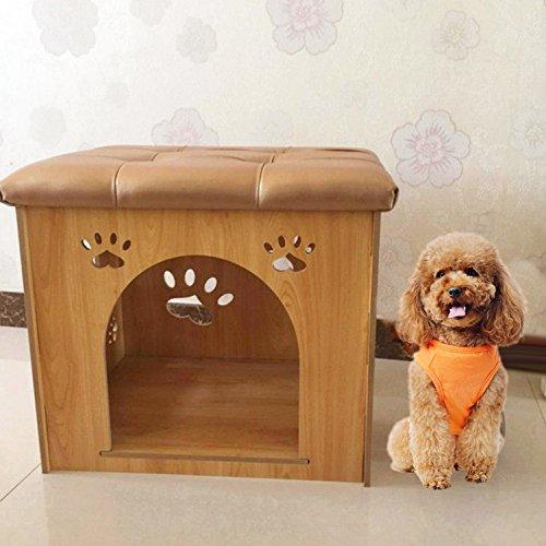 Nclon Hund Cat Home Pet Katze Wurf Changing Shoes hocker Herausnehmbaren Haus Holz Pet Gehäuse Home Multifunktion-Natürliche Farbe 50 * 41 * 41cm