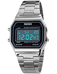 FeiWen Digitales Deportivo Relojes de Pulsera de Mujer y Hombre LED Electrónica Multifuncional Acero Inoxidable Outdoor