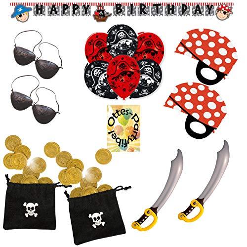 HHO Pirate's Trip Piratenausflug Partyset 59tlg. für 16 Piraten Luftballons Girlande Piratenmasken Augenklappen Schwert Münzbeutel (Piraten-münzbeutel)