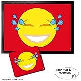 Set: 1 Fußmatte Türmatte (70x50 cm) + 1 Mauspad (23x19 cm) - Emoticons, Emoji Lachender Smiley mit Tränen in Den Augen