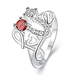YELLOW CHIMES Love Heart Proposal Red Austrian Crystal Designer Ring for Girls and Women
