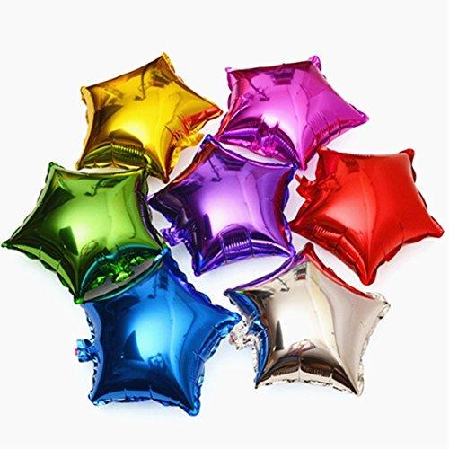 HerZii 18'forma de estrella metálico globos de color para decoración de la boda Plain Star helio aire globo de plástico