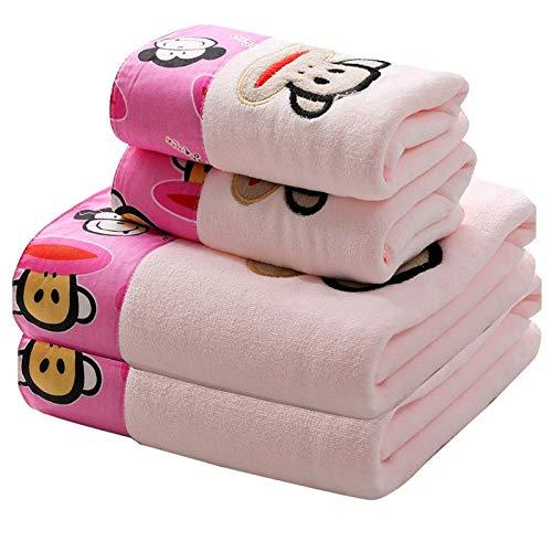 Towells telo mare asciugamano da bagno in puro cotone, asciugamano super assorbente per bambini, completo da scimmia ricamato rosa, 70x140cm