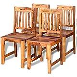vidaXL 4pcs madera maciza, sillas de comedor cocina salón jardín 40x 46x 87cm