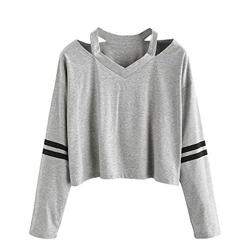 Damen Blusen Shirt Tops MYMYG Mode Damen Shirts Blusen Frauen Mädchen Animal Print Langarm mit Kapuze Crop Bluse Pullover Sweatshirt Shirts Blusen Tops (D1-Grau,EU:36/CN-M) -