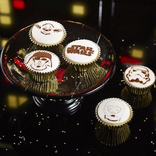 Lakeland - Mascherine con stencil per spolveratura dei cupcake, in plastica, 6 pezzi, prodotti su licenza ufficiale Star Wars™