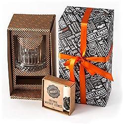 Coffret cadeau à whisky - Grand verre à whisky à l'ancienne avec 12 pierres à whisky dans pochette cadeau - Idée cadeau parfaite pour un père, un 50e anniversaire