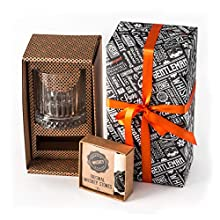 Whisky Gift Set | Large Old Fashioned Whisky Glass | 12pcs Whiskey Stones with Pouch Gift Box | Perfect Idea as Gift for Dad | Best Man Gift Whiskey Glass | 50th Birthday Gift for Men