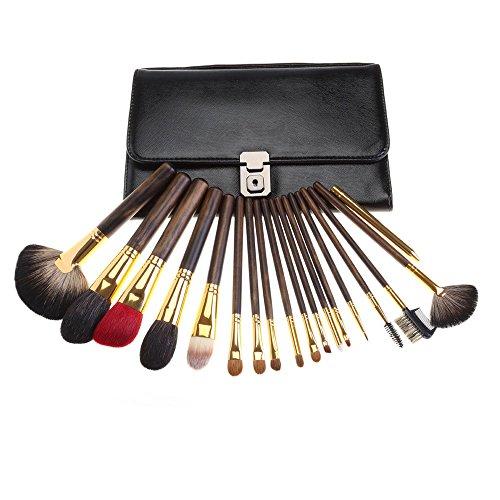 brosses de maquillage 18 pièces pack manche en bois de pinceaux de maquillage avec Voyage sac cosmétique