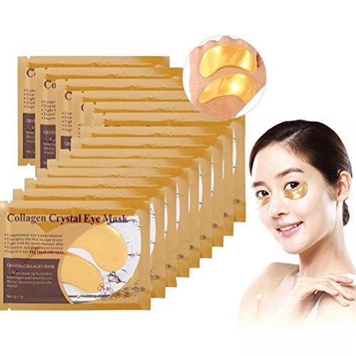 50 Paar Kollagen Golden Eye pad Augenpads, Feuchtigkeit spendende Anti Falten Augenmaske mit Hyaluronsäure und Collagen gegen Augenringe und Fältchen für Regeneration der Haut