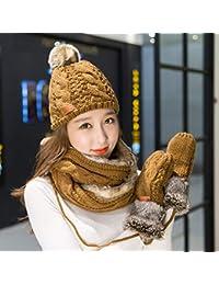 YSFU cappello sciarpa guanti donna Guanti Sciarpa Cappello Invernale  Lavorato A Maglia Set Tre Pezzi Un 382fa28b7bf1
