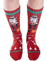 Strung Weihnachten Unisex Baumwolle Socken Winter Warm Mid Rohr Socken Cute Xmas Deer Design Socken Erwachsene Unisex Socken Strumpfwaren Stricksocken Short Strümpfe Stocking Sportsocken