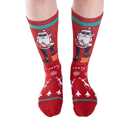 MCYs Weihnachten Unisex Baumwolle Socken Multi-Color Printed Winter Warme Mid Tube Weihnachtssocken Christmas ()