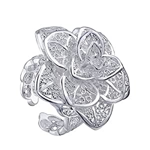 VIKI LYNN -Argent 925 PlaqušŠ Bague oeuvre d'art fleur dentelles argentšŠes, taille ajustable, femme, homme, bracelet, boucles d'oreilles, collier, bracelet, boucles d'oreilles assortis disponibles