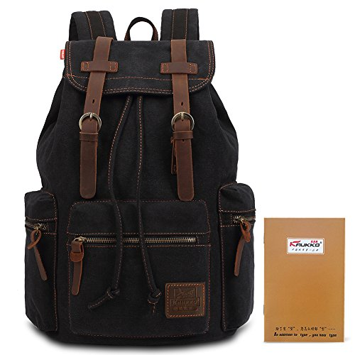 Imagen de kaukko  elegante en tela  college school unisex bolsa de hombro excursionismo y viajes(negro) alternativa