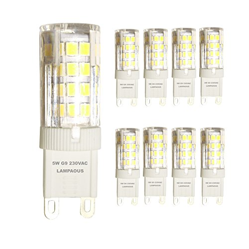 lampaous G9LED Leuchtmittel, 40W Halogen G9Leuchtmittel Ersatz, mit super bright Cool weiß LED 400LM 5W, 360Grad Abstrahlwinkel, AC 220–240V, Energiesparlampe, nicht dimmbar, CRI > 85, 8Stück