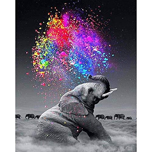 Elefanten Kit - ZUOQUAN DIY Vorgedruckt Leinwand-Ölgemälde Geschenk Für