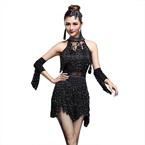 G-like Damen Latein Tanz Kleider - Modern Dance Latin Party Gesellschaftstänze Dekoration Zubehör Pailletten Quasten Tanzkleid Trikot Rock Kostüm Bekleidung für Frauen (Schwarz, 4XL) (Paso Doble Tanz Kostüme)