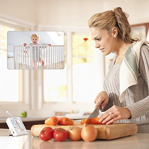 Video Babyphone,HOMIEE Babyphone 360 °Baby Kamera, 5 Zoll LCD Monitor und 300m 2,4G Wireless Verbindung, Wiederaufladbarer Monitor,Ton und Temperaturalarm, Nachtsicht, Wiegenlied und Zweiwege Audio - 7