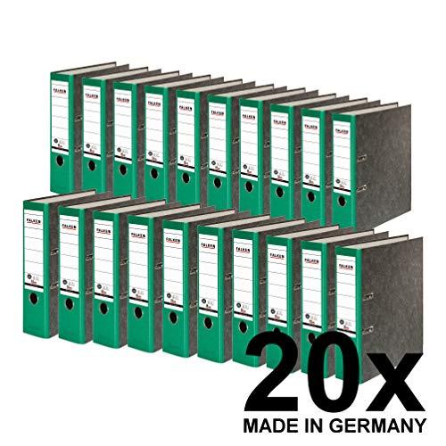 Falken 20er Pack Recycling-Ordner Wolkenmarmor 8 cm breit DIN A4 grüner Rücken Ringordner Aktenordner Briefordner Büroordner Pappordner Schlitzordner Blauer Engel