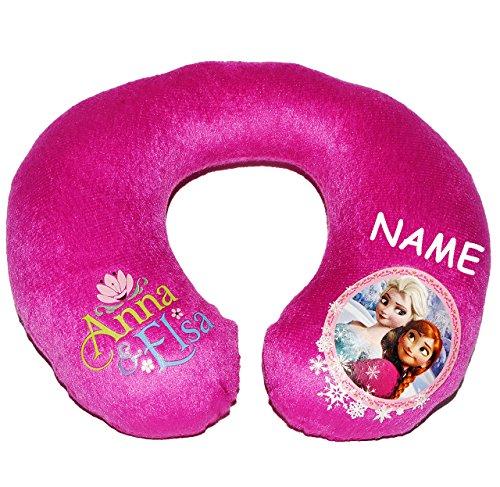 Unbekannt Nackenrolle -  Frozen - Disney die Eiskönigin  - incl. Name - Kissen für Auto / Kindersitz - Nacken Nackenkissen - Nackenhörnchen / Kinder Baby Mädchen - vö..