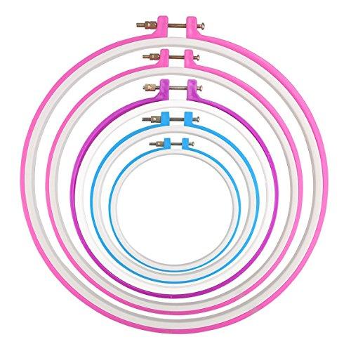 Veewon Anelli ricamo a mano ricamo cerchio Cross Stitch Hoop Set da 5a 11pollici o 12,7-27,2cm (colore casuale), confezione da 5 - Grande Embroidery Hoop