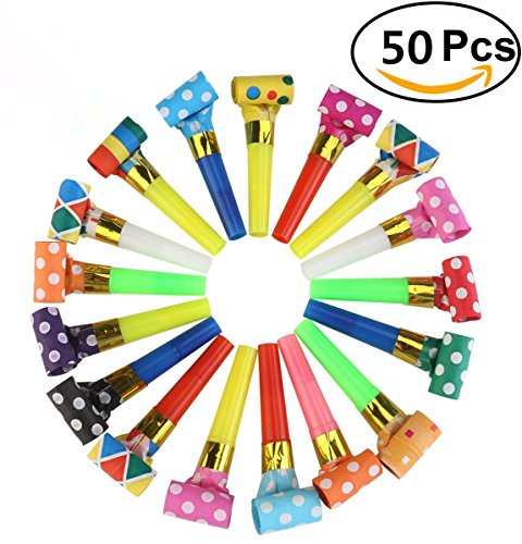 50 Packs Musik Blowouts Whistles Toys für Geburtstagsfeier Gefälligkeiten, Weihnachtsfeier, Kinder Party, Halloween, Party Zubehör, Neujahr Party Noisemakers von Chapter Seven