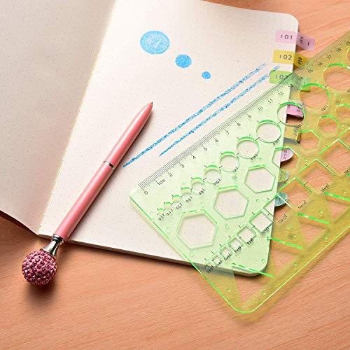6 Piezas Plantillas de Dibujo Plastico Regla Círculos Ovalado Curva Plantillas Regla de Dibujo Geométrico, para Estudiantes, Oficina, Escuela, Construcción